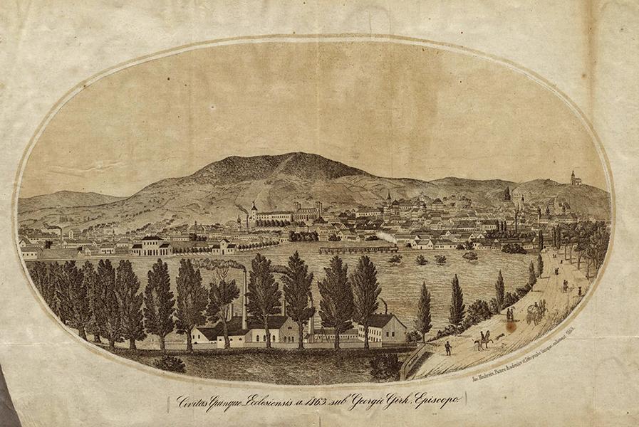 Pécs város látképe 1863-ban - Csorba Győző Könyvtár - Pécs, PDM