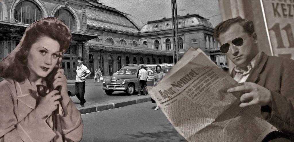 Rökk Marika, járókelők a Nyugati Pályaudvarnál és a környezetét figyelő személy (A Fortepan és a Mozi újság képeinek módosításával készült.)