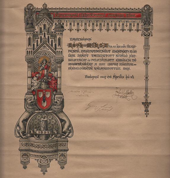 Díszelnöki oklevél 1907-ből - MTA Bölcsészettudományi Kutatóközpont, CC BY-NC-ND