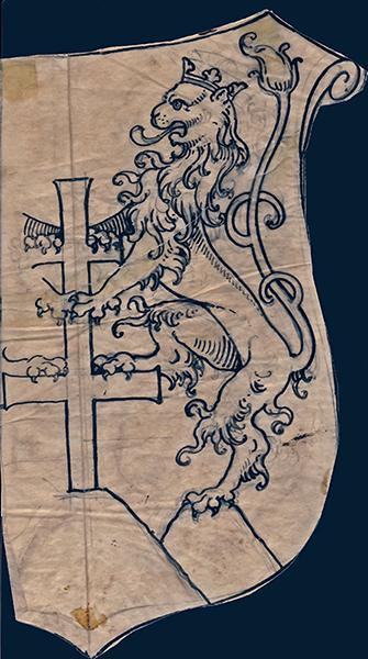 Koronás oroszlánt ábrázoló címergrafika - MTA Bölcsészettudományi Kutatóközpont, CC BY-NC-ND