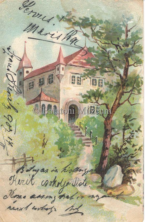 Látkép, kastély fák között - Balatoni Múzeum, CC BY-NC-ND