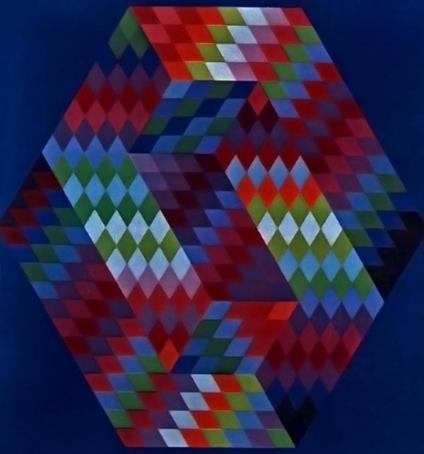 A háromdimenzió illúziója, Victor Vasarely alkotásán - Csorba Győző Könyvtár - Pécs, CC BY-NC