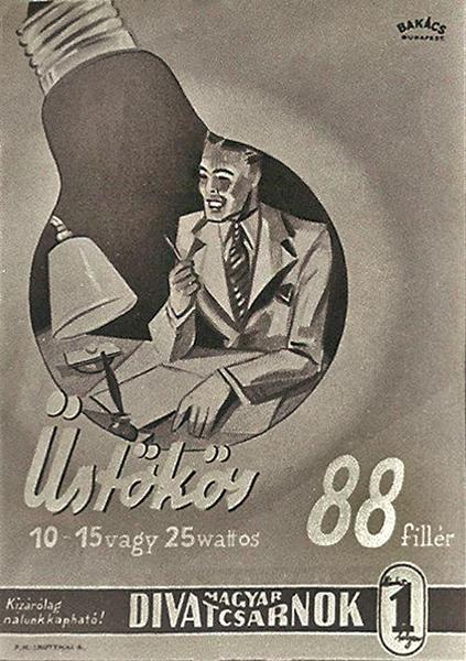 Az üstökös izzó a lámpába reklámja - Magyar Kereskedelmi és Vendéglátóipari Múzeum, CC BY-NC-ND