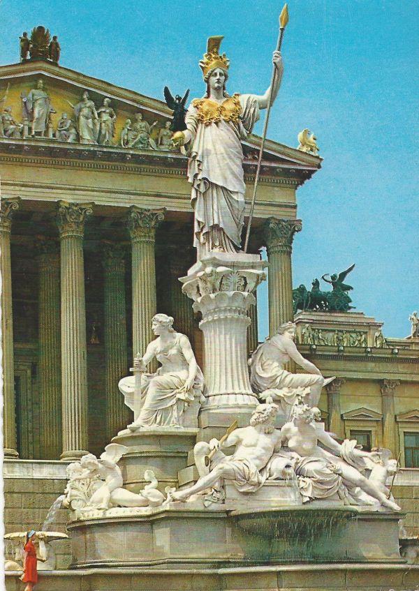 Parlament, Pallas Athene - Wien, képes levelezőlap. - MKVM, CC BY-NC-ND