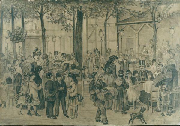 Kerthelyiség a Fürsttheáter mellett, Bécs, 1860 - MKVM, CC BY-NC-ND