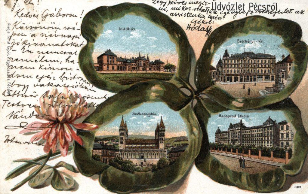 Pécsi Levelezőlap 1890-ből - Csorba Győző Könyvtár PDM