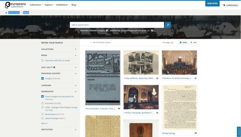 A Forum Hungaricum által aggregált tételek az Europeana oldalán (2020.01.06.)