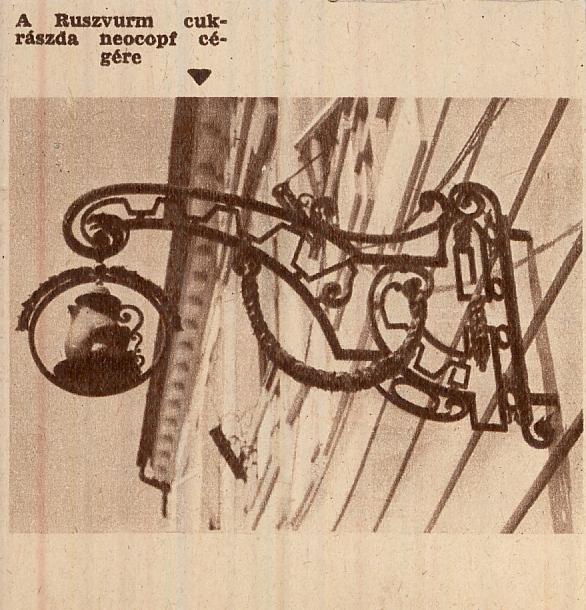 A Ruszwurm cukrászda cégére - MKVM, CC BY-NC-ND