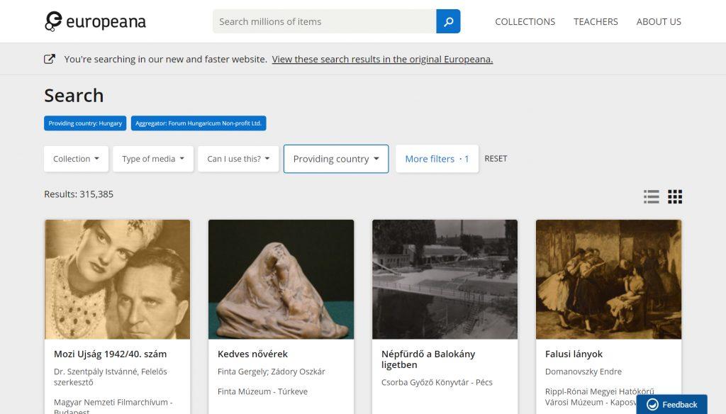 Europeana_Forum Hungaricum_találatok_20200324