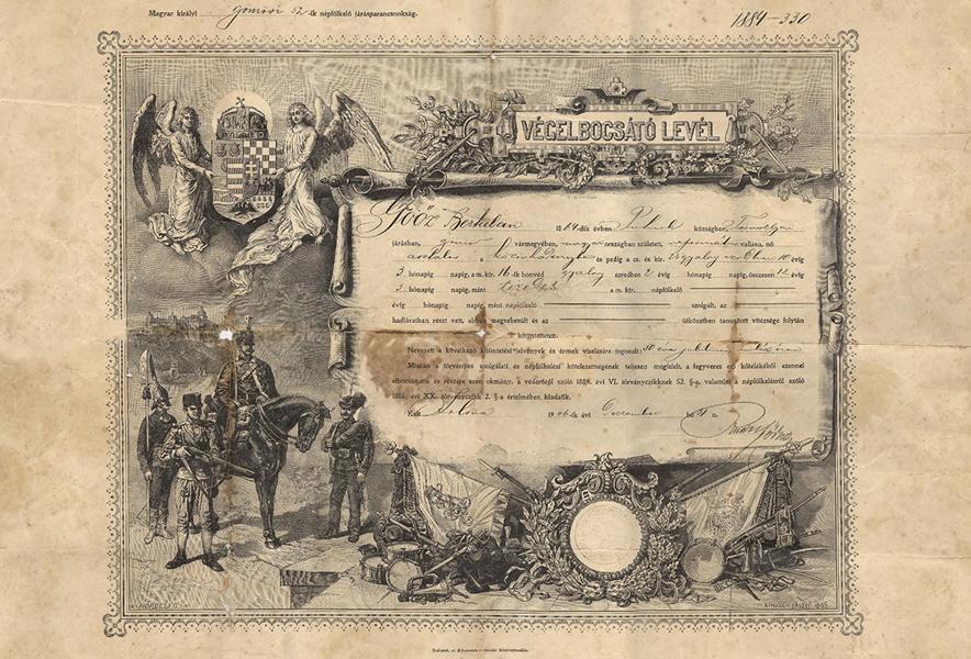 Katonai leszerelő levél, 1906-ból - Gömöri Múzeum; Putnok, CC BY-NC-ND