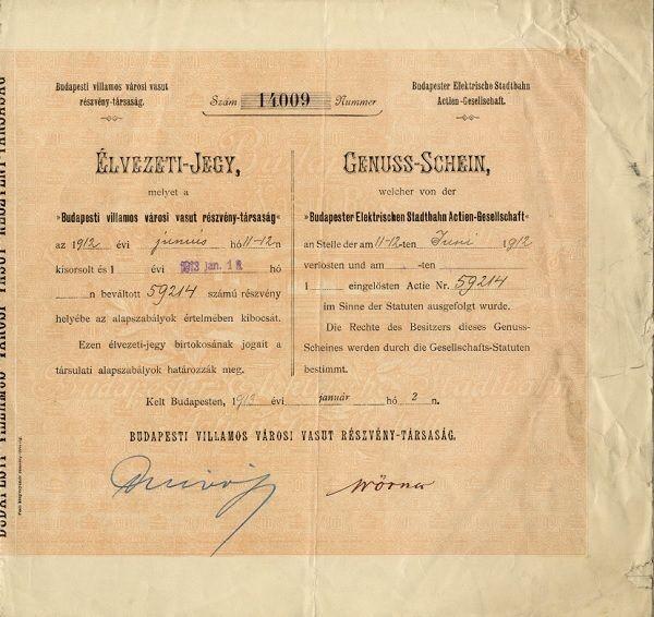 Budapesti villamos városi vasút rt. élvezeti jegye és 1923-ig szóló szelvényei, 1913 - Budapesti Történeti Múzeum, CC BY-NC-ND
