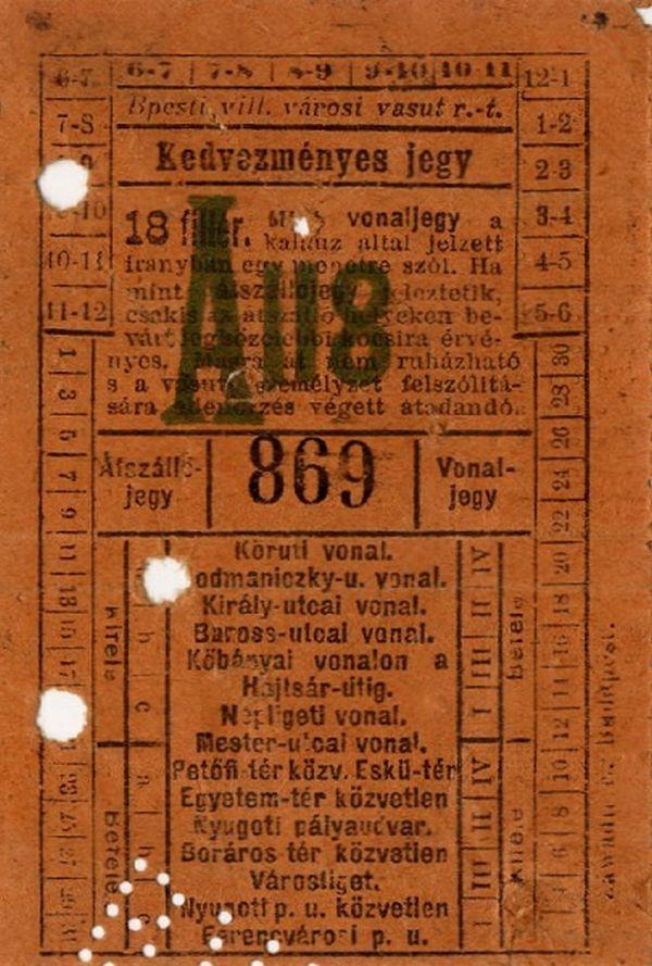 Budapesti villamos városi vasút kedvezményes vonaljegye, é.n. - Budapesti Történeti Múzeum, CC BY-NC-ND