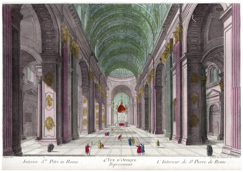 A római Szt. Péter bazilika perspektivikus enteriőr-metszete – Piarista Múzeum CC BY-NC-ND