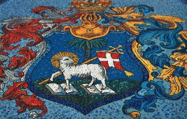 Üvegmozaikon a Debrecen címer - DMJV PH, CC BY-NC-SA