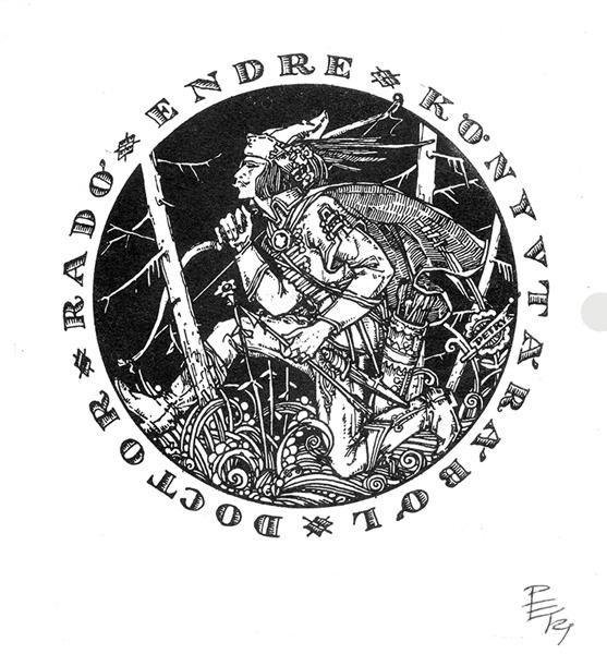 Ősmagyar vitéz grafika - Ex libris dr. Rado Endre - Hajdúsági Múzeum, CC BY-NC-ND
