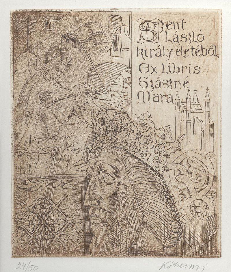 Ex-libris Szent László király életéből Szászné Mara - Gömöri Múzeum; Putnok, CC BY-NC-ND