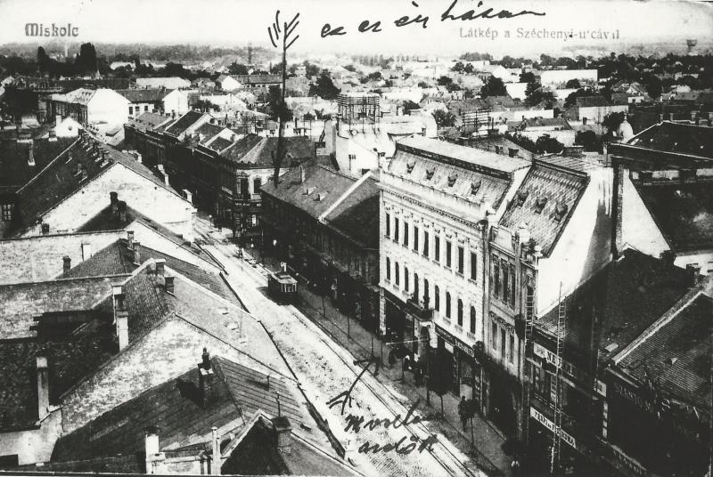 Miskolc látkép a Széchenyi utcával (1908 körül), fénykép - MKVM, CC BY-NC-ND