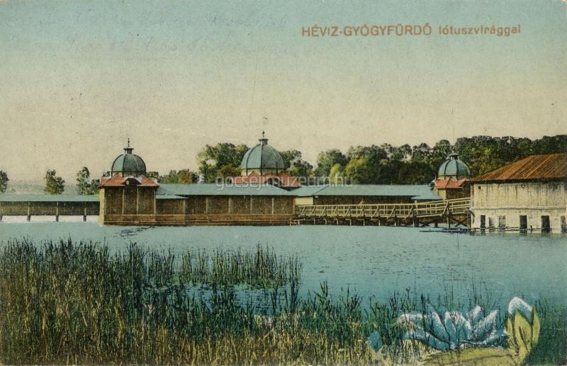 Színezett képeslap: Hévíz - Gyógyfürdő lótuszvirággal. - Göcseji Múzeum, CC BY-NC-ND