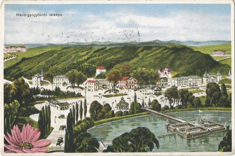 Hévíz - képeslap, gyógyfürdő, 1932 - MKVM, CC BY-NC-ND