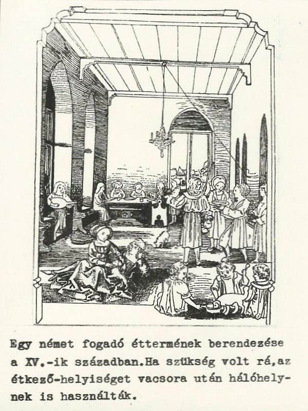 Fogadó étterme - metszet, Német-római Birodalom, XV. század - Magyar Kereskedelmi és Vendéglátóipari Múzeum, CC BY-NC-ND