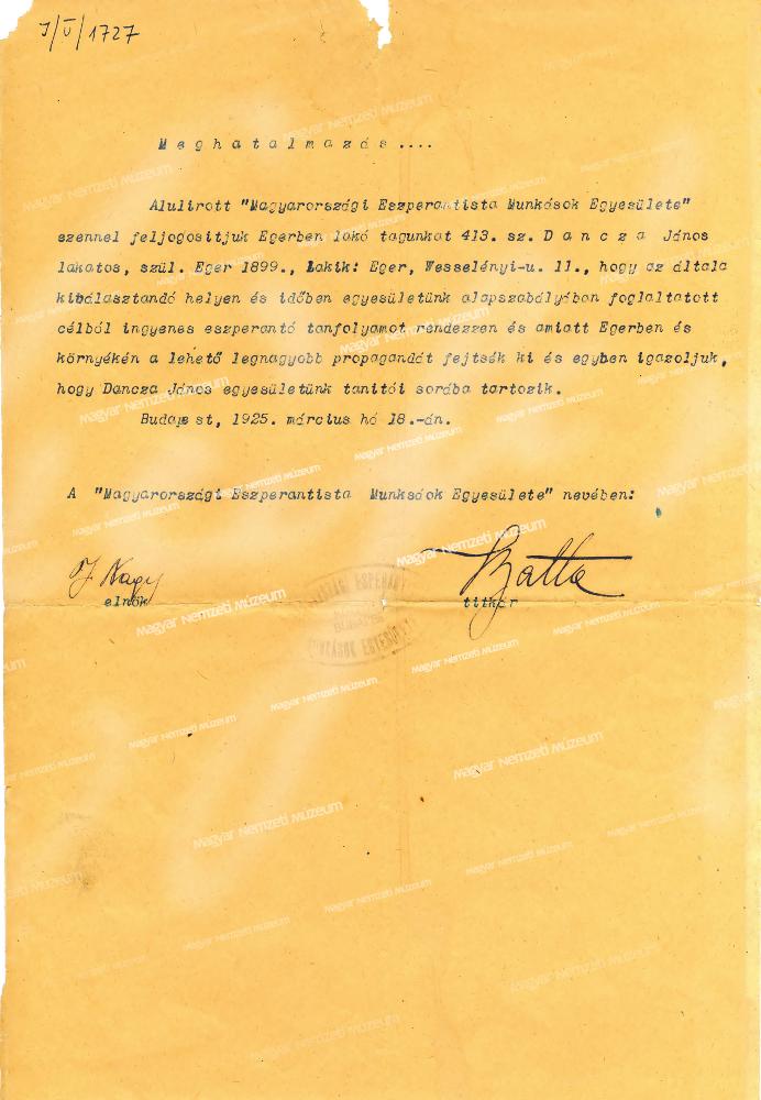 Meghatalmazás ingyenes eszperantó nyelvtanfolyam rendezéséről - Magyar Nemzeti Múzeum Történeti Tár, CC BY-NC-ND